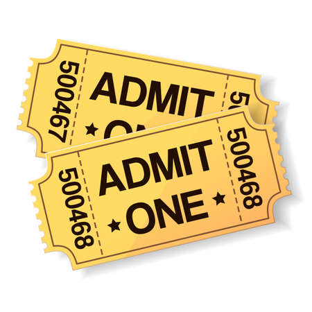 admission: pair of yellow cinema tickets on white Illustration