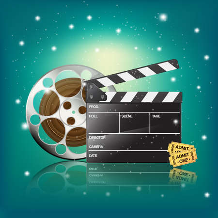 film industry: clapper,cinema tickets and film on starry background