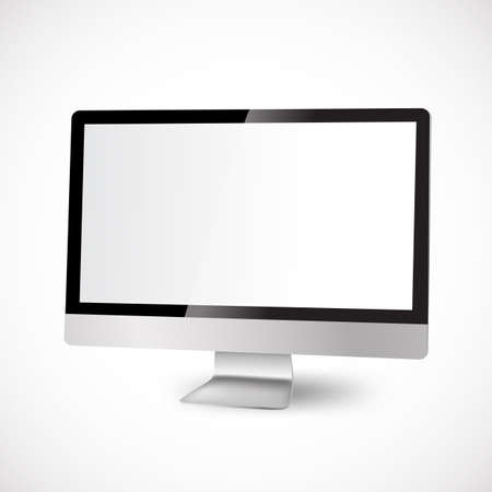 modern computer with white display Vector