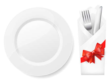 place setting: white plate,fork and knife in envelope with bow