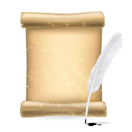 pluma de escribir antigua: pluma blanca y antiguo rollo Vectores