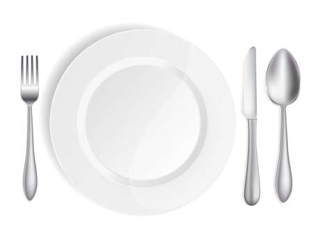place setting: white plate with knife,spoon and fork