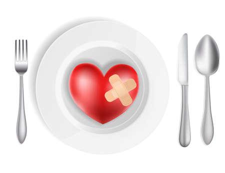 pareja comiendo: concepto con la placa, tenedor, cuchillo y el corazón