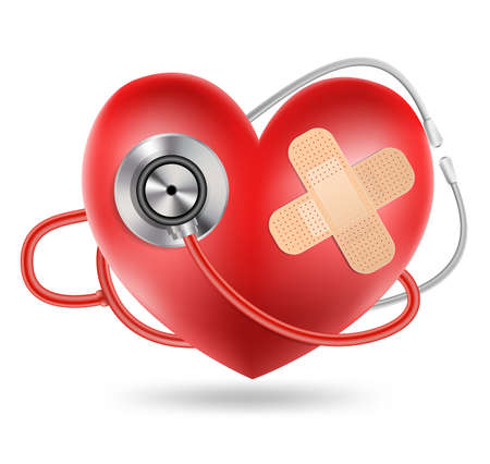 listening to heartbeat: stethoscope and a heart shape