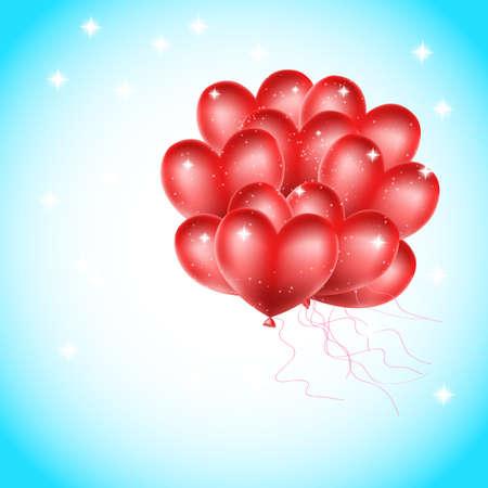 heart balloons flying in the sky Vector