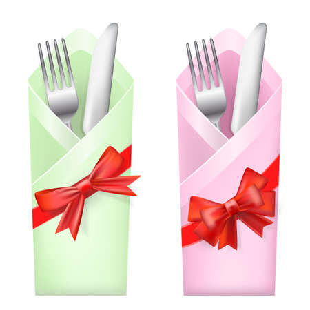 place setting: knife and fork in envelope with bows Illustration
