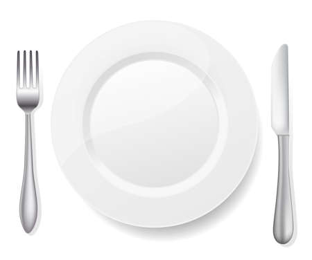 formal place setting: plate with knife and fork on white
