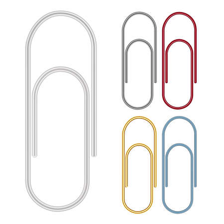 hang up: paper clips on white background Illustration