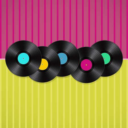 fondo musical retro con vinilos