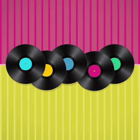 old sheet music: musical retro background with vinyls