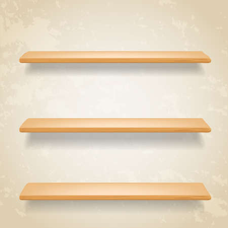 forepart: wooden shelves on grunge background