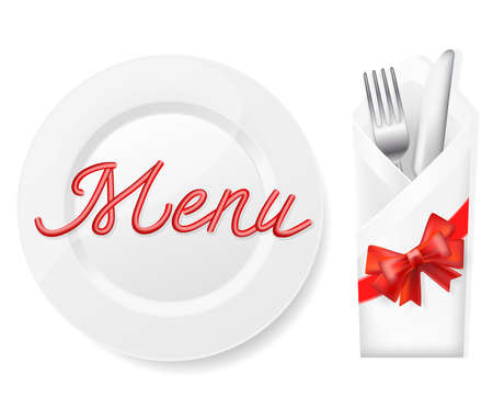 place setting: menu with plate,fork and knife in envelope