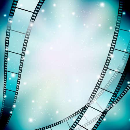rollo pelicula: fondo con el filmstrip y las estrellas