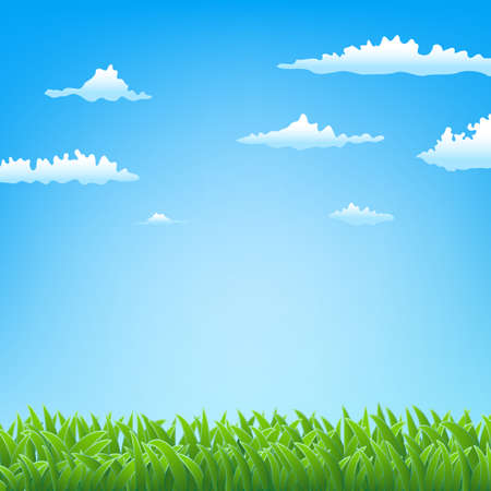 spring background with grass and clouds Stock Vector - 18165987