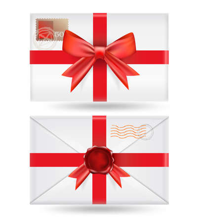 set of  envelopes with ribbons and wax seal Vector