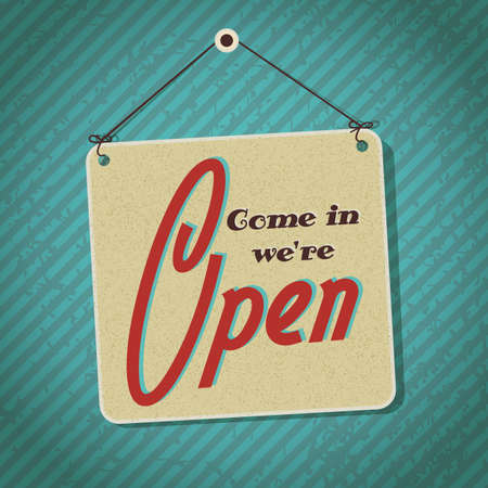 come in: vintage sign with words come in we Illustration