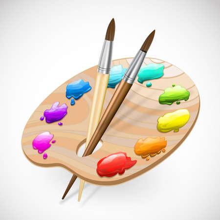 arte paleta de pinceles y pinturas wirh Ilustración de vector