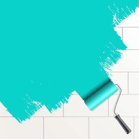 roller brush: rodillo de pintura a pincel sobre un fondo de pared