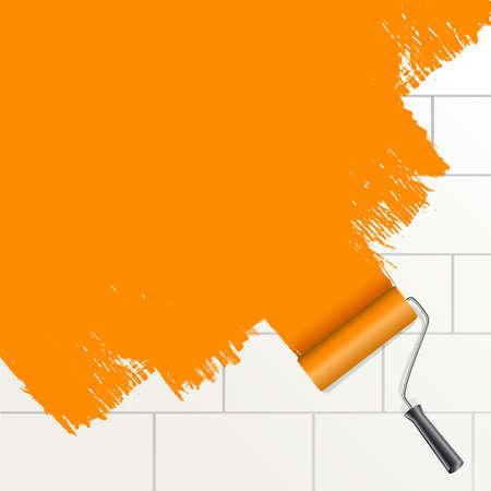 roller brush: cepillo giratorio pintura naranja en la pared