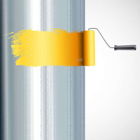 roller brush: rodillo de pintura a pincel sobre la superficie met�lica