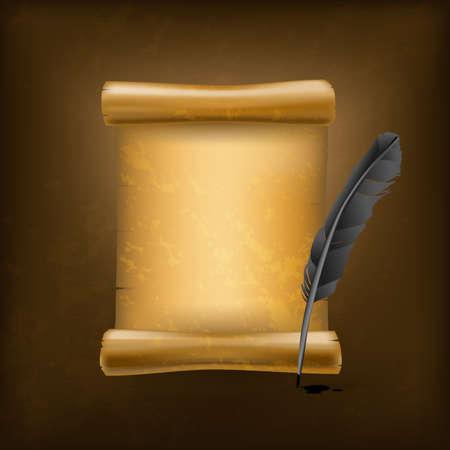 papiro: piuma nero e vecchio rotolo