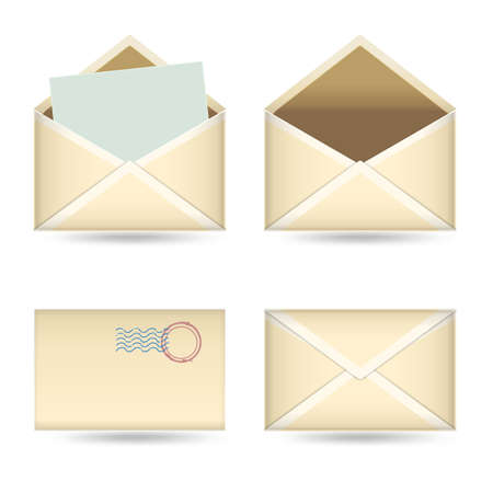 set of  vintage envelopes on white Vector