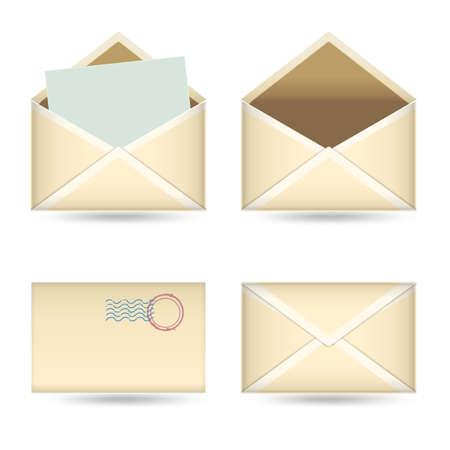 old envelope: set of  vintage envelopes on white