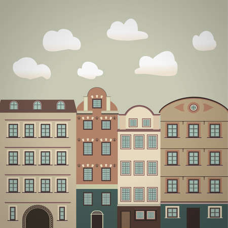 town houses capital: old town vintage illustration