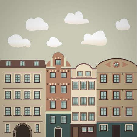 old town vintage illustration