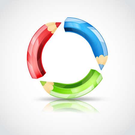 cíclico: Arte del símbolo con lápices de colores en un flujo circular