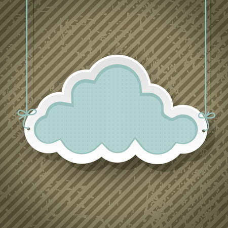 cloud as retro sign on grunge background Stock Vector - 18246477
