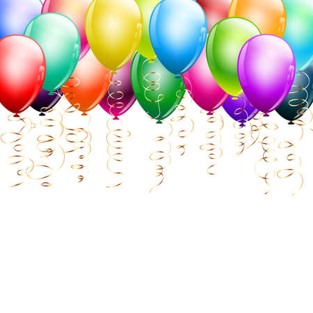 colorful balloons as top border on white Vector