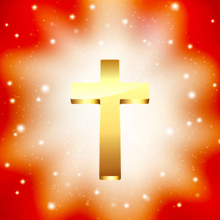 golden cross on light rays background Vector