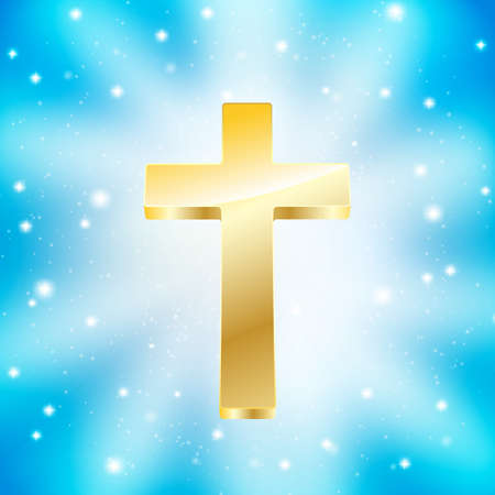 golden cross on light rays blue background Illustration