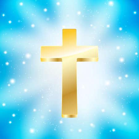 gold cross: golden cross on light rays blue background Illustration