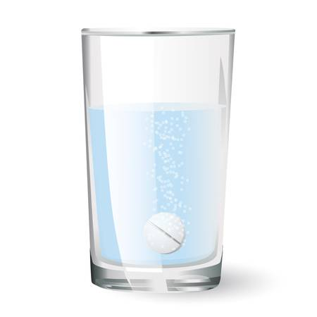 effervescent tablet in glass of water Stock Vector - 18246366