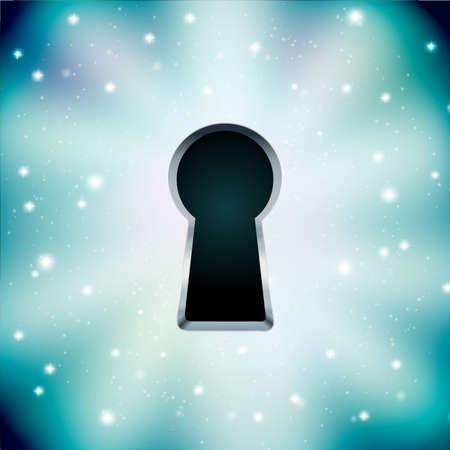 星空の背景に鍵穴の概念