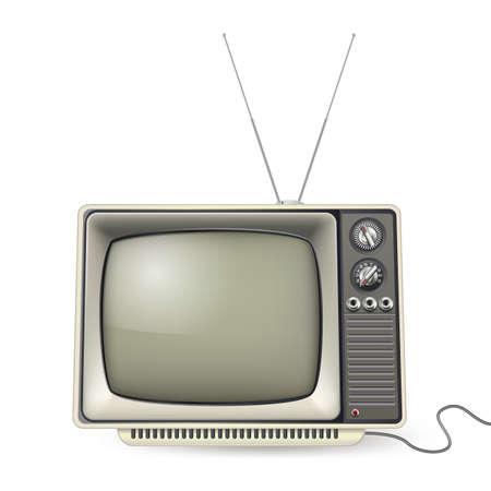 vintage tv met antenne en draad