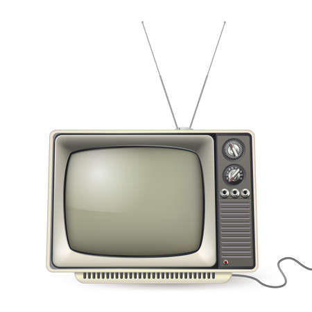 retro styled: vintage tv with antena and wire
