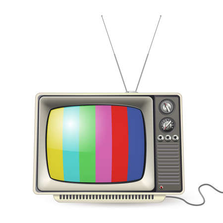 vintage tv with colors on the screen  Vector