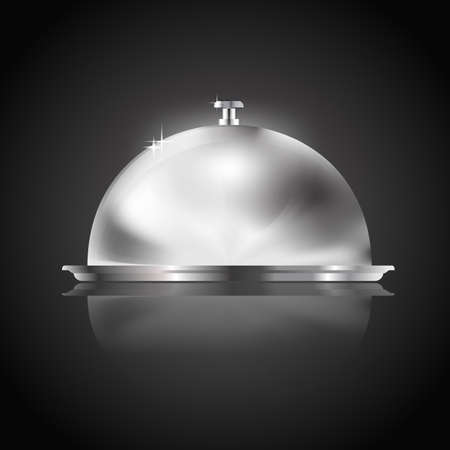 place setting: tray as restaurant icon on black Illustration