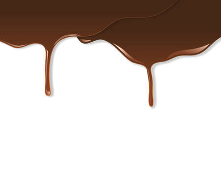 Melted chocolate dripping on white   Vector