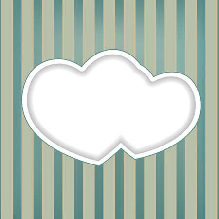 retro background with two hearts Vector