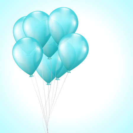 background with bright light blue balloons Vector