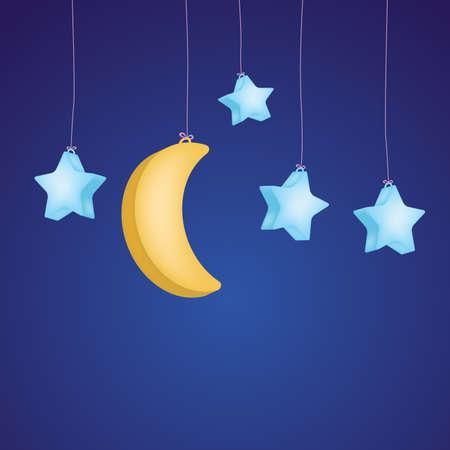 lullaby: estrellas y la luna como fondo infantil Vectores