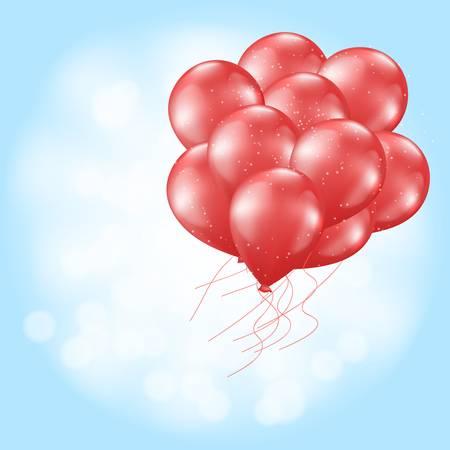 heart balloons flying on light blue Vector