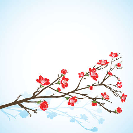 background with sring tree red flowers Vector