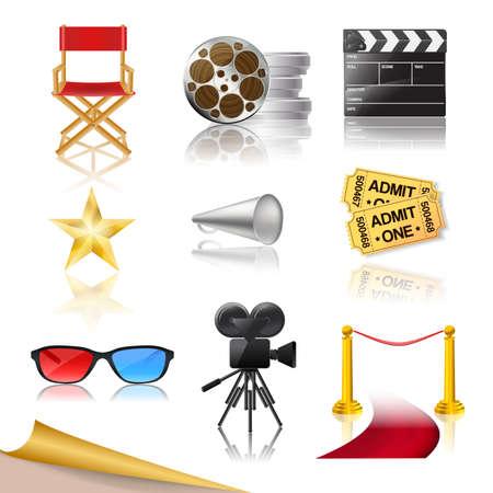 詳細な映画館のアイコンを設定  イラスト・ベクター素材