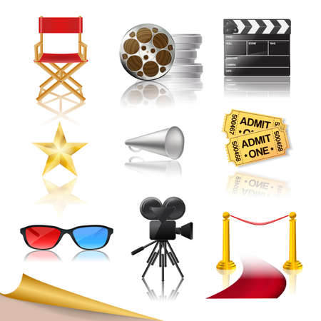 set of detailed cinema icons Vector