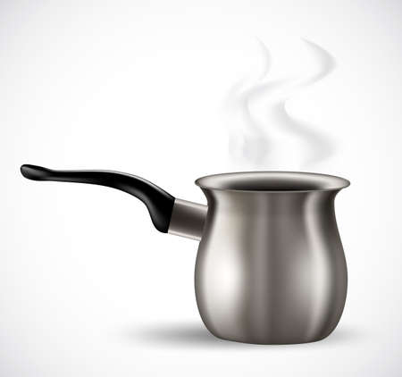 realistic steel coffee pot on white